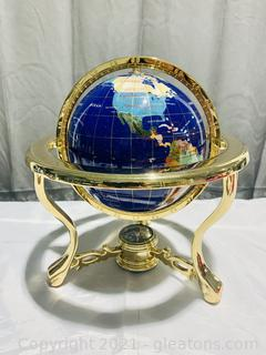 Polished Blue Pearl Gemstone Table Top World Globe