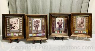 4 Framed Stamp and Coin Wartime Collection