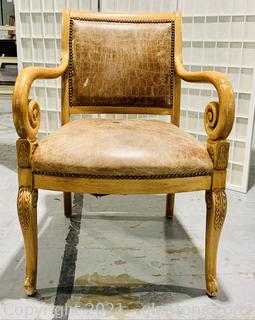 Perfect Pecan Scrolled Arm Chair
