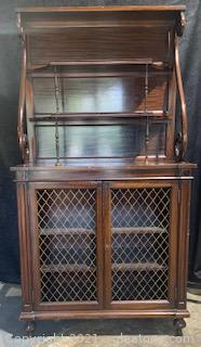 Ornate Mahogany Display Cabinet with Brass Hardware