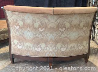 Beautiful Mocha Micro-Suede Banquette / Curved Settee / Bench