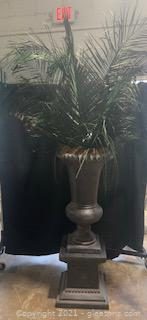 Lightweight Gray Urn with Faux Greenery and Separate Base