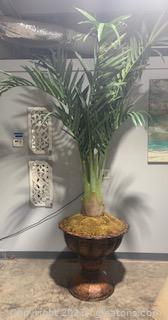 Oversized Bottle Palm in Metal Copper Inspired Urn (Note DIM's)