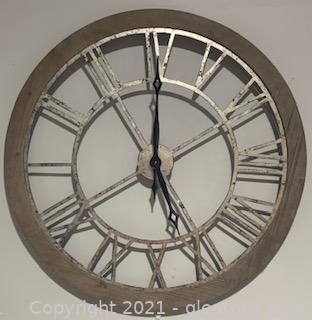 Large Galvanized Metal Roman Numeral Wall Clock