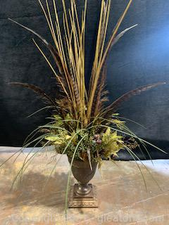 Lightweight Platter Urn with Faux Plants and Feathers