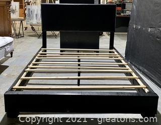 Black Padded Queen Platform Bed