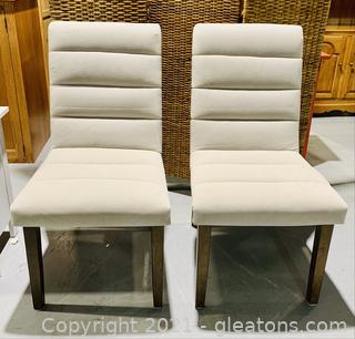 2 Classy Felt Cushioned Dining Chairs