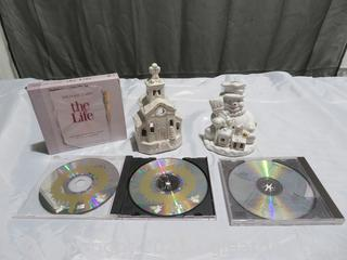 Two Christmas Candle Holders and Three CDs