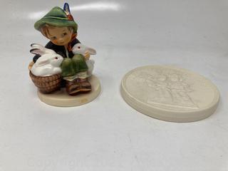 "Hummel Figurines 1950 Playmates Figure and ""A Keepsake from The Birthplace of Hummel"" Figurine"