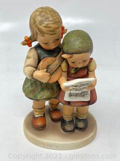 Hummel Figurine: Close Harmony 2 Girls Signing and Playing Instrument