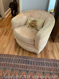 Satin Chenille Swivel Chair W/Accent Pillow - Super Comfortable and Fun!
