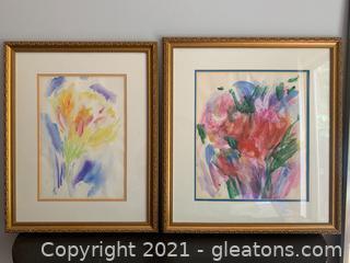 Pair of Cheerful Signed Original Watercolors