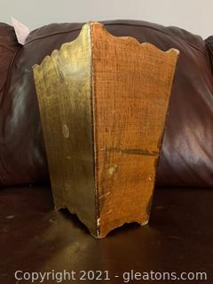 Gold Gilted Wooden Trashcan