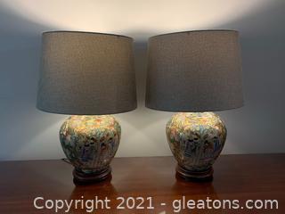 Pair of Cloissoine Lamps