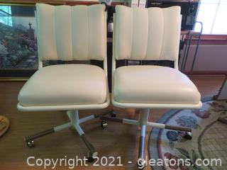 Fabulous Mid-Century Dining Chairs (2) Leather with Metal Legs