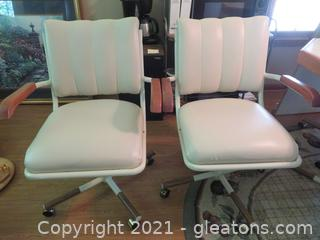 Fabulous Mid-Century Dining Arm Chairs (2) Leather with Metal Legs
