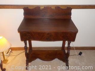 Antique Handmade Darkwood Side Table