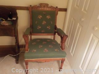 Absolutely Phenomenal Antique Rolling Parlor Chair-