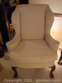 Vintage Wingback Formal Armchair-Ivory Upholstery