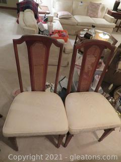 Cane Back Broyhill Walnut Dining Chairs (2)