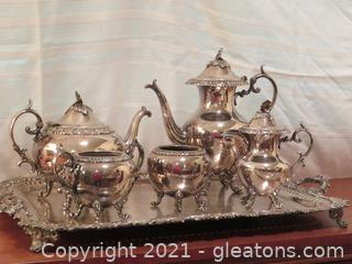 Silver Plated Coffee/Tea Serving Set with Tray