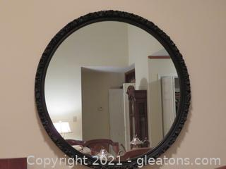 Beautiful Antique Round Black Mirror  with carved wooden frame
