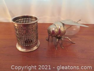 Silver Jam/Jelly Cover and Honey Server