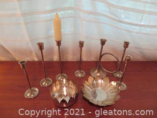 Charming Candle Sticks and 2 Flower Petal Bowls