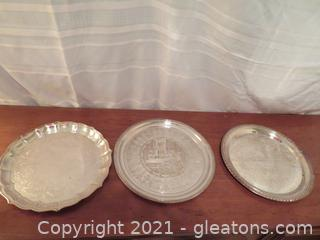 Three Fabulous Silver Plated Serving Trays