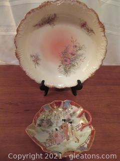 Lovely Limoges Bowl and Asian Leaf Bowl