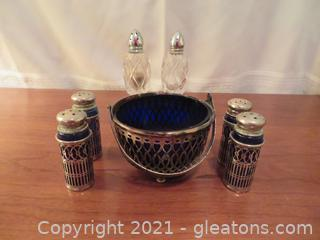 Blue Glass Bowl in Silver Bucket, 4 Blue and Silver Salt and Pepper Shakers Plus Glass Salt and Pepper Shakers