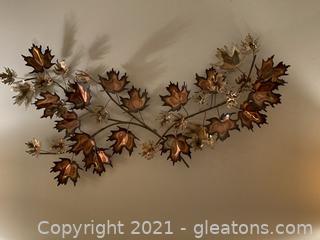 Mid Century Modern Oak Leaf Metal Wall Decor
