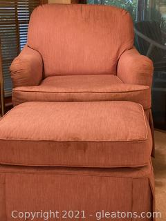 Perfectly Pink Rolled Arm Chair and Ottoman