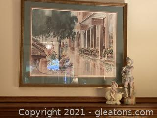 "Spanish Influenced Ceramic Figurine ,Little Girl Figurine on Top of Vase, Sidewalk Reflections ""Framed Art Lot of 3 Items"