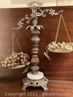 Decorative Antique Brass and Silver Plate Balance Scale with Marble and Brass Footed Base