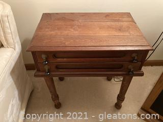 Dark Walnut 2-Drawer End Table/Night Stand