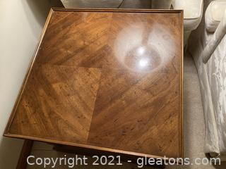Beautiful Picture Frame End Table W/Lower Woven Shelf and Pull Out Leaf