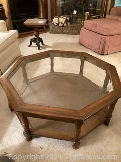 Octagonal Coffee Table with Wood Frame/Glass Insert Top. Bottom Shelf Has a Woven Finish