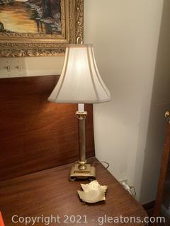Perfect Candlestick Desk Lamp W/Brass Base and Brass Leaf Design Trinket Holder/Candle Holder
