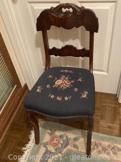 Beautiful Carved Mahogany Side Chair W/Needle Point Seat