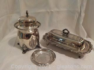 Vintage Ornate Silverplate Butter Dish and Lidded Container