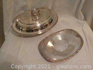 Vintage Silverplate Tray and Lidded Server