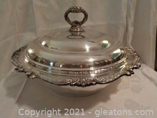 Large Silverplate Dish with Lid