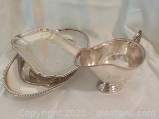 Elegant Silverplate Serving Set 3 Pieces