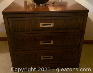 Three Drawer Wooden Chest with Brass Handles