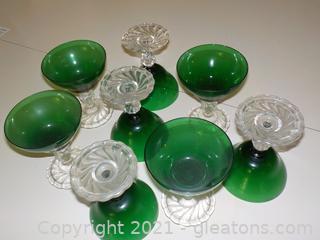 Set of 8 Anchor Hocking Vintage Burple Champagne Glasses