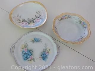 Beautiful Gold/Silver Rimmed Bavarian Decor Dishes Signed Vera Diffenbach