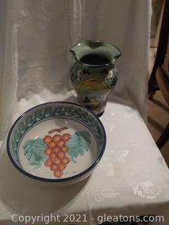 Pair of Italian Stoneware Pieces