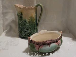 Pair of Antique Glazed Pottery Pieces