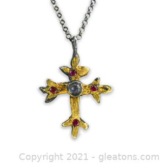 Very Unique Ruby and Moonstone Cross Necklace